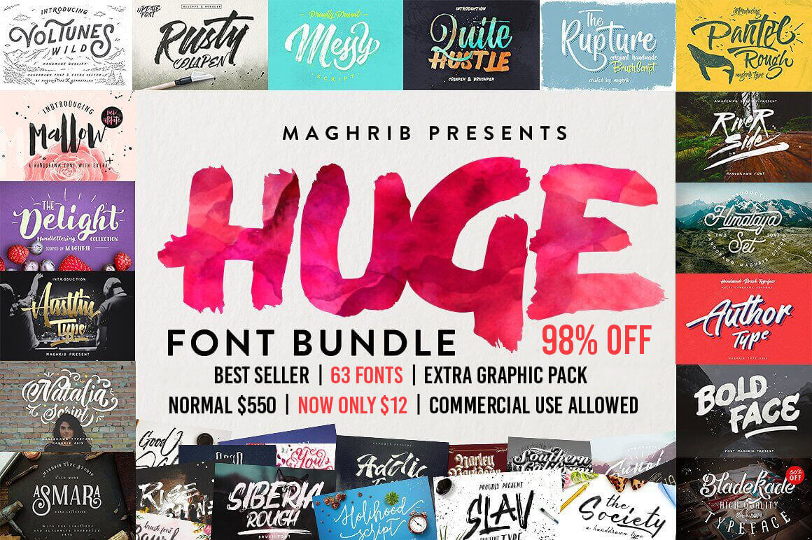 60+ Professional Best-Selling Fonts – only $12!
