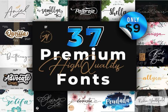 Mighty Deals Exclusive! 35+ Premium Fonts with OpenType Features – only $9!