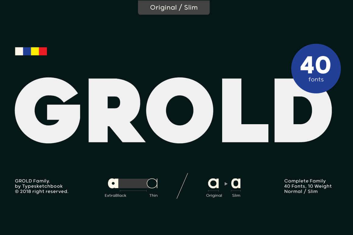 Grold Font Family of 40 Post-Geometric Fonts – only $12!