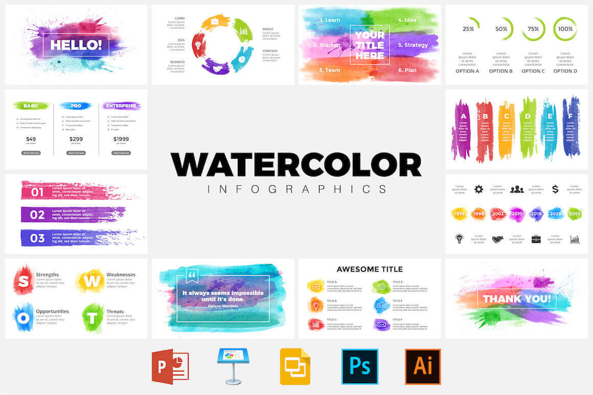 50+ Watercolor Infographic Templates – only $5!