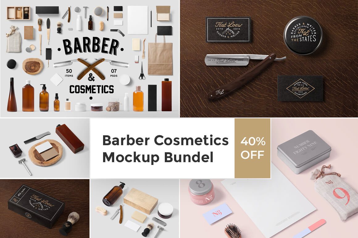 Barber Cosmetics Mockup Bundle – only $14!