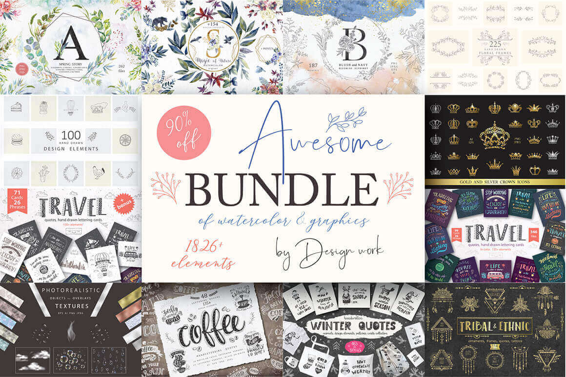 Awesome Bundle of 1826 Graphic Elements – only $17!