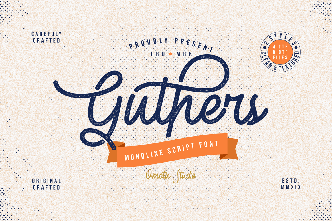 Guthers: Gorgeous Monoline Script Font – only $7!