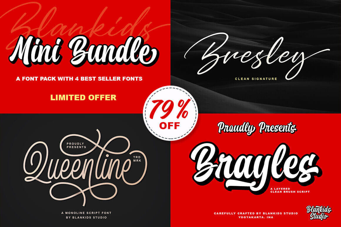 Blankids Mini Bundle of 4 Awesome Script Fonts – only $9!