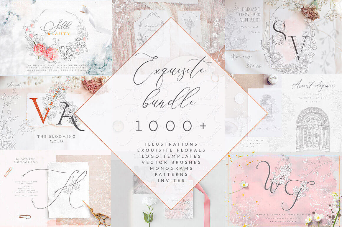 1000+ Floral Designs, Monograms, Patterns, Illustrator Brushes, Logo Templates, Watercolors & More – only $9!