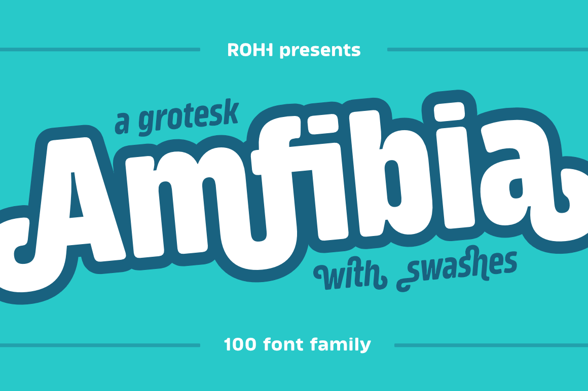 Amfibia: Versatile Display Super Family of 100 Fonts – only $21!