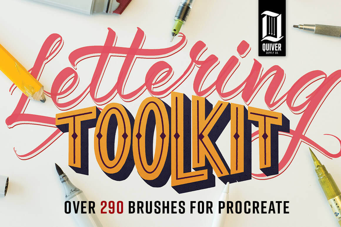 Procreate Lettering Toolkit with 290+ Brushes – only $14!