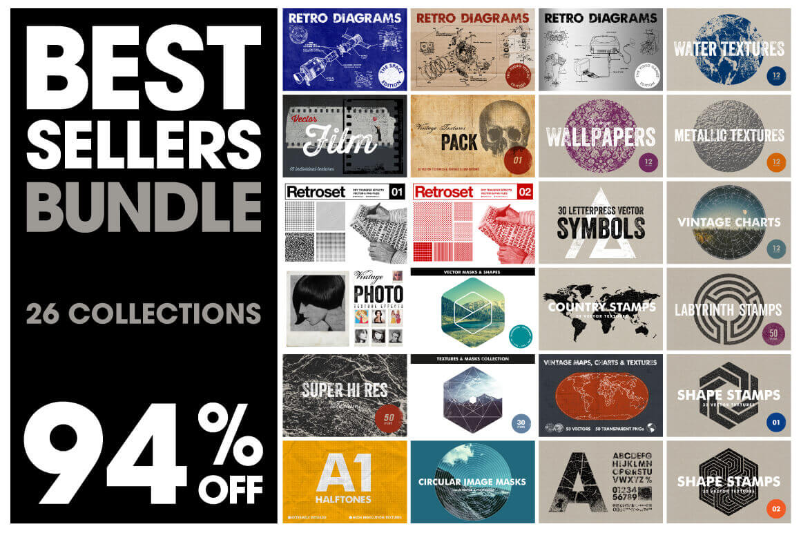 26 Best-Selling Bundles: Textures, Stamps, Charts & More – only $21!