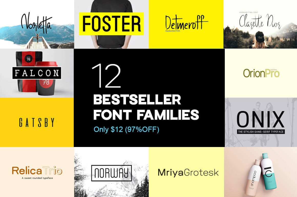 12 Best-Selling Typefaces (54 Fonts) from Designova – only $12!