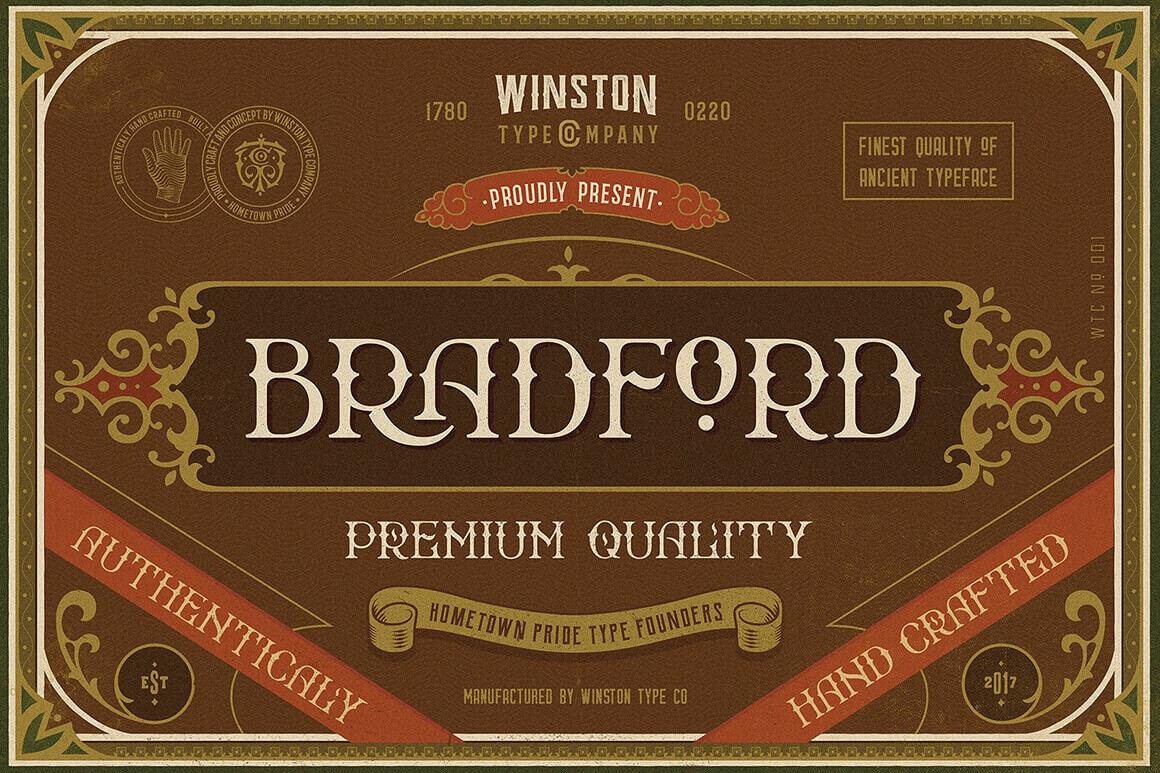 Hand-Crafted Old-Fashioned Display Font Bradford – only $9!