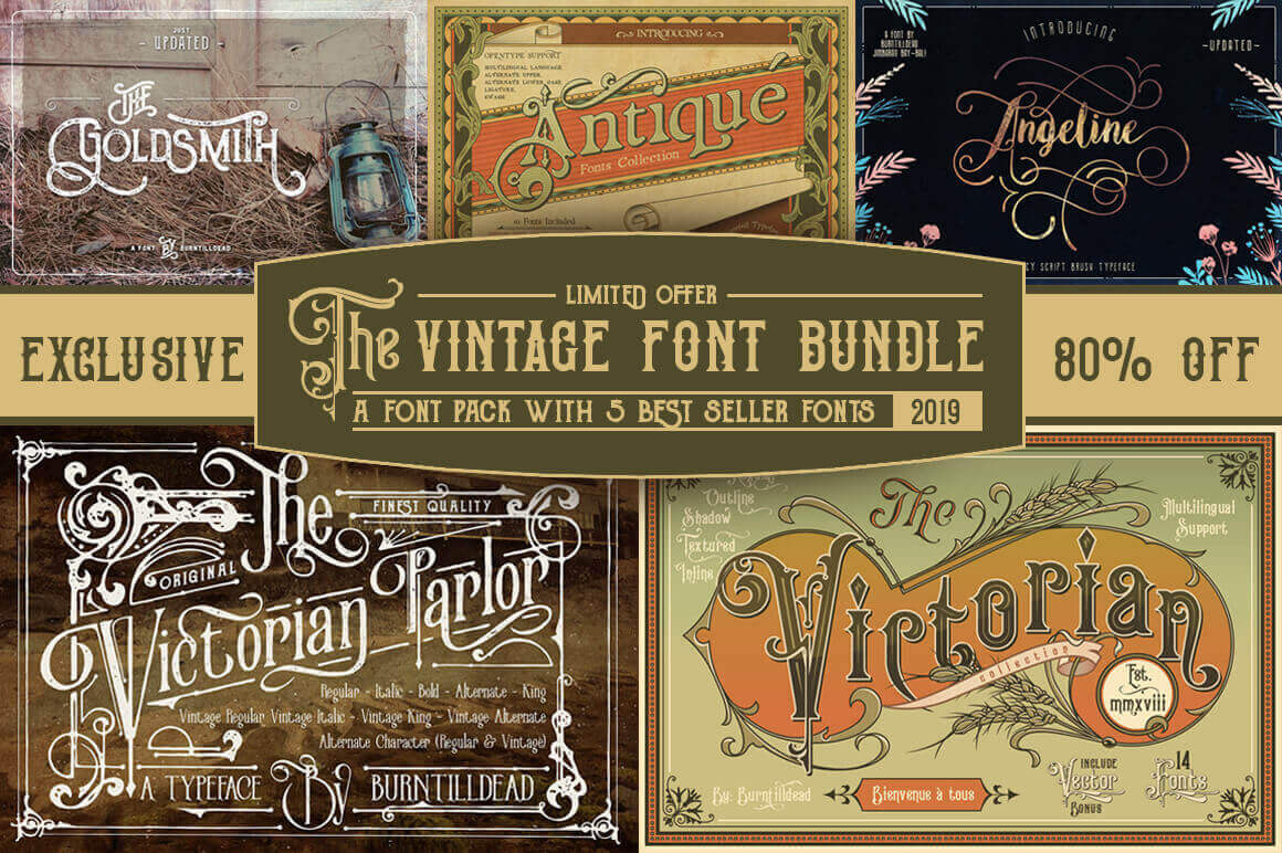 EXCLUSIVE! 5 Popular Vintage Font Families from Burntilldead – only $14!