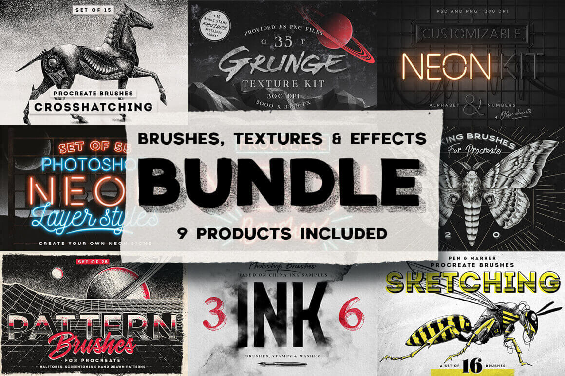 100+ Unique Brushes, Textures & Effects – only $17!