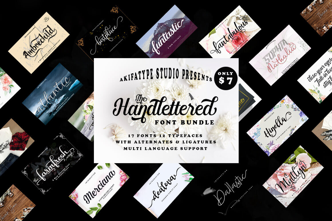 The Handlettered Font Bundle of 17 Romantic Script Fonts – only $7!