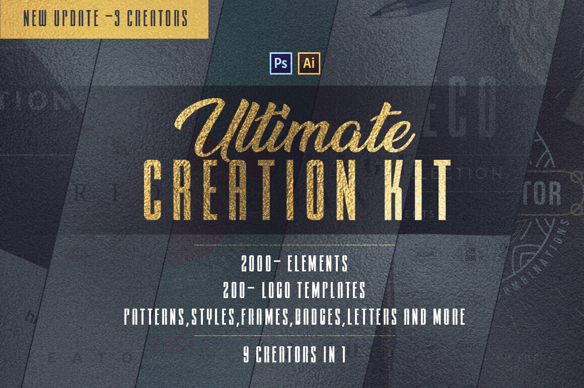 Ultimate Creation Kit: 2,000+ Design Elements & 200+ Logos, Patterns, Styles & More – only $14!