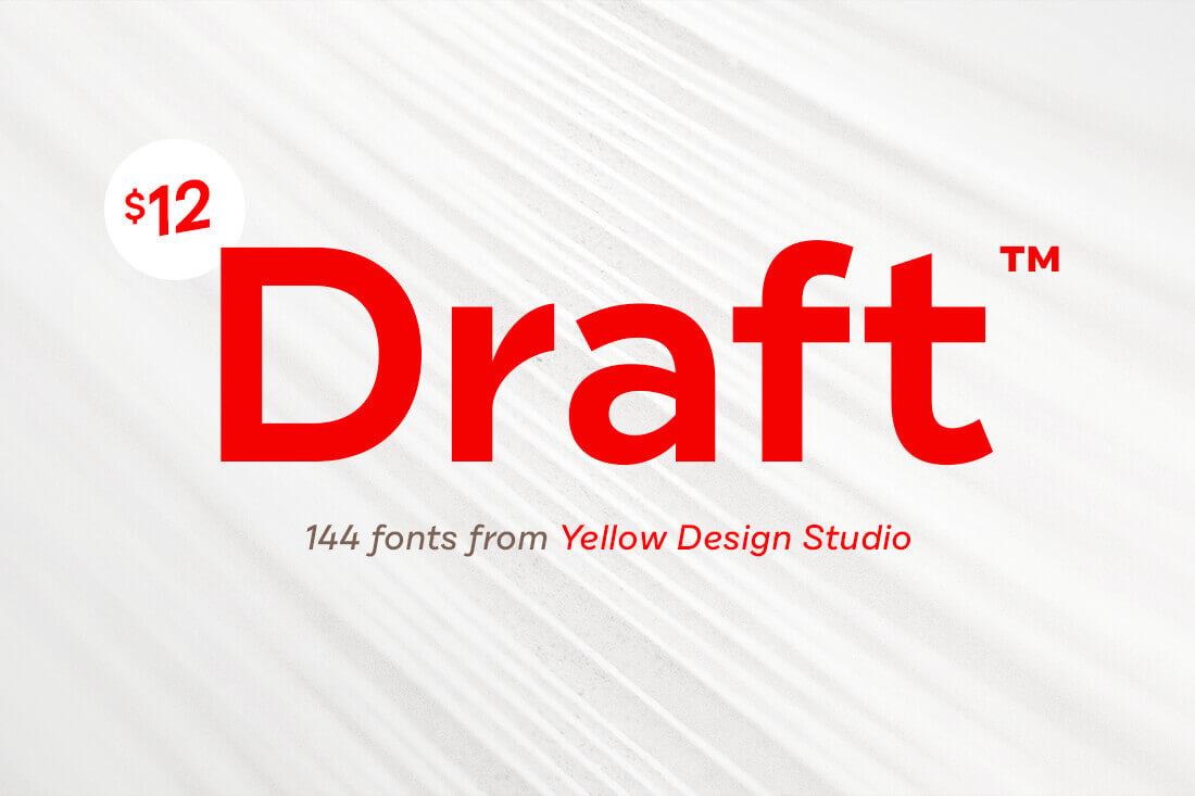Draft Font Family of 144 Unique Typefaces – only $12!