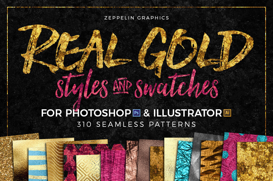 300+ Gold Glitter Foil Styles and Swatches – only $9!