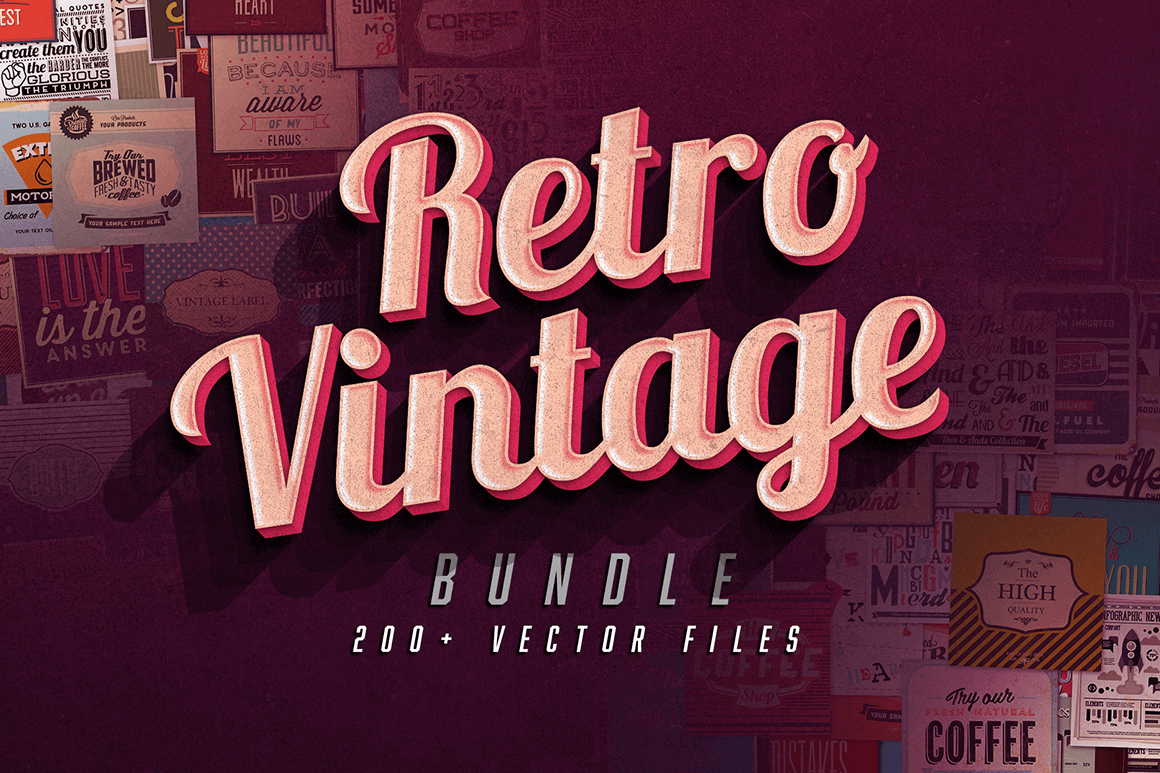 Going Retro! 200 Vintage Vector Illustrations – only $9!