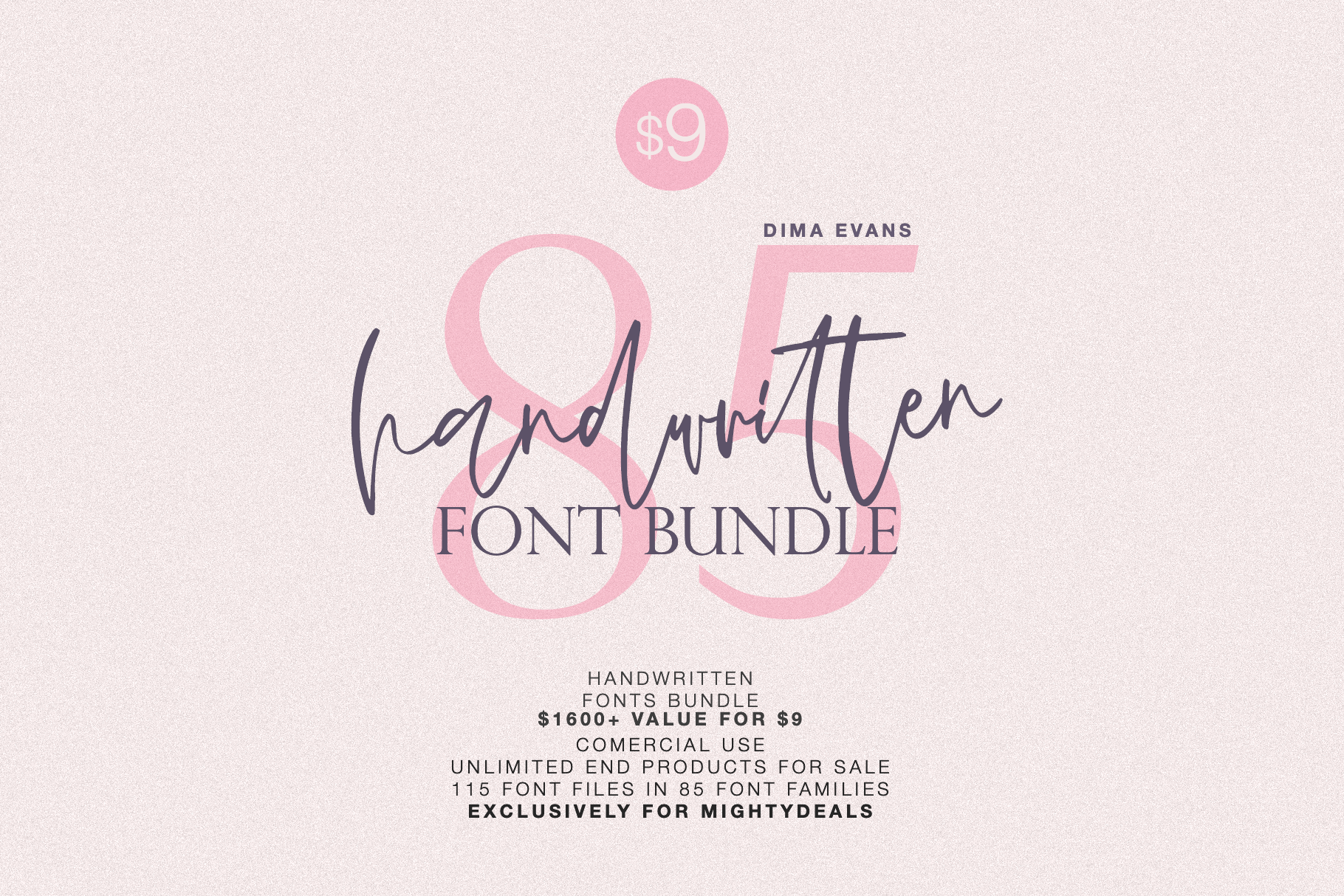 EXCLUSIVE! 85 Professional Font Families – only $9!