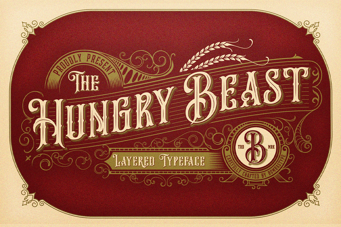 Hungry Beast Victorian-Themed Layered Typeface – only $9!