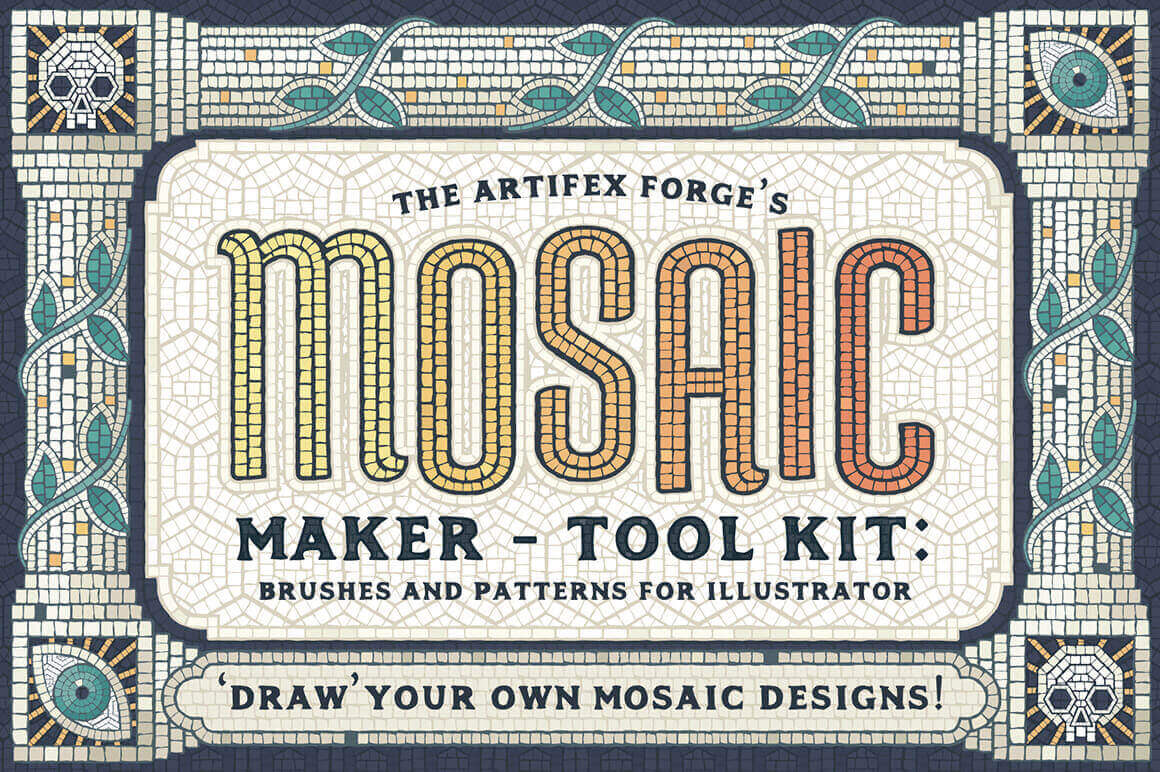 Mosaic Maker Toolkit Brushes & Patterns – only $9!