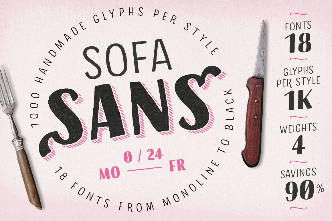 Sofa Sans: 18 Hand-Drawn Sans-Serif Fonts – only $9!