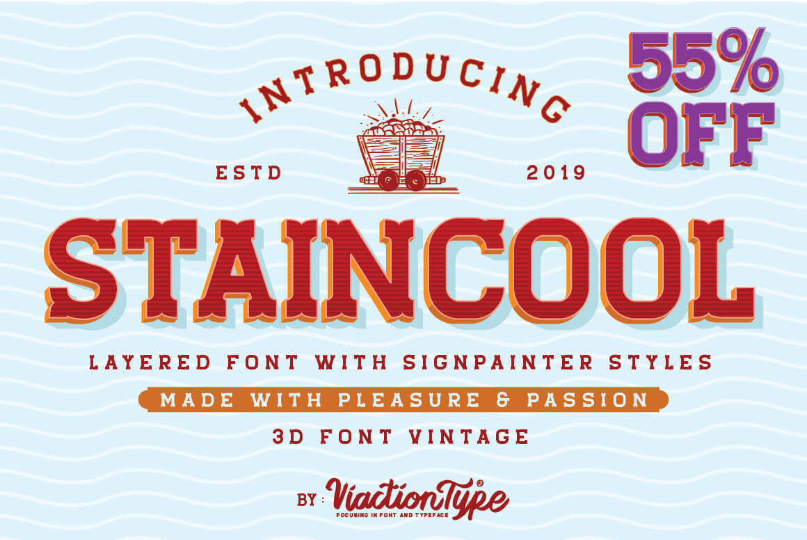 Staincool, a Layered Font with Signpainter Styles – only $9!