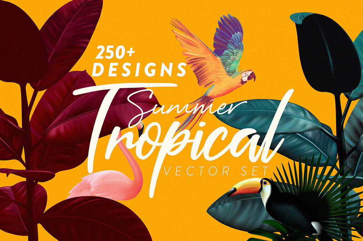 Summer Tropical Vector Set of 250+ Design Elements – only $14!