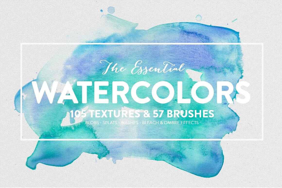 The Essential Watercolors Pack with 150+ Textures & Brushes – only $7!