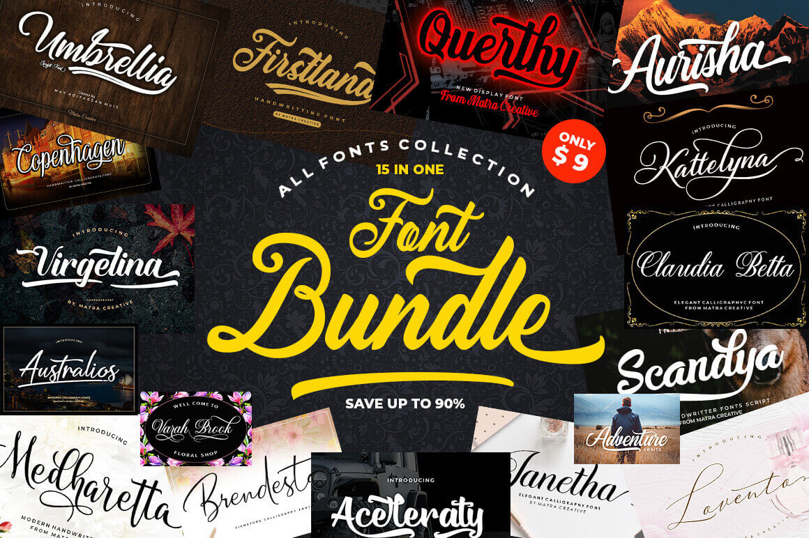 15 Amazing Fonts From Matra Creative – only $9!