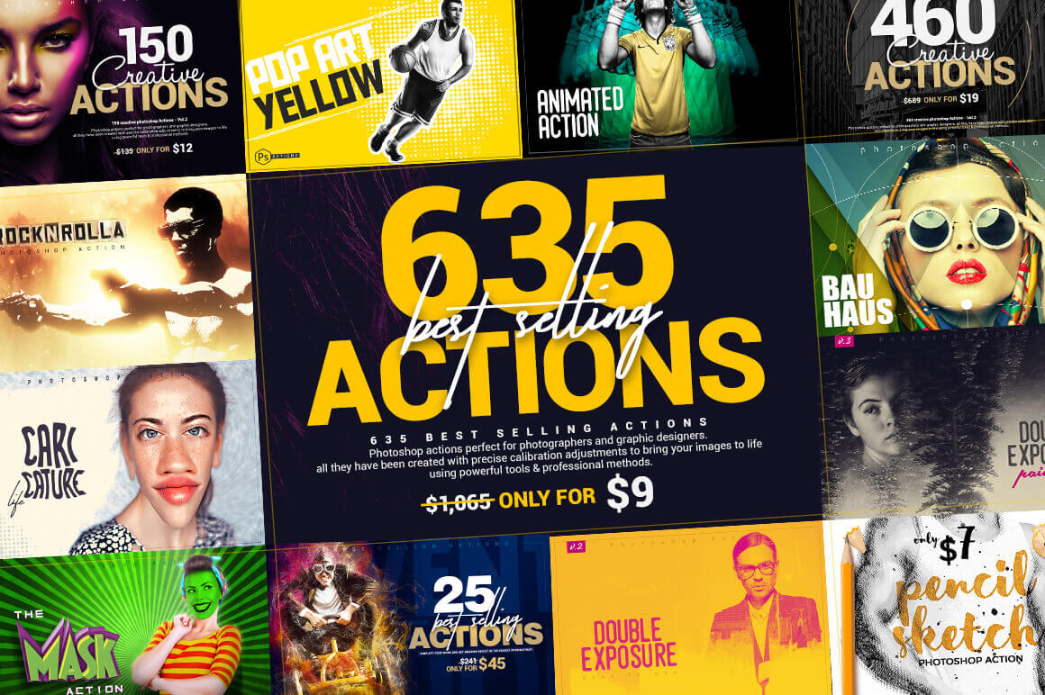 635 Best-Selling Photoshop Actions – only $9!