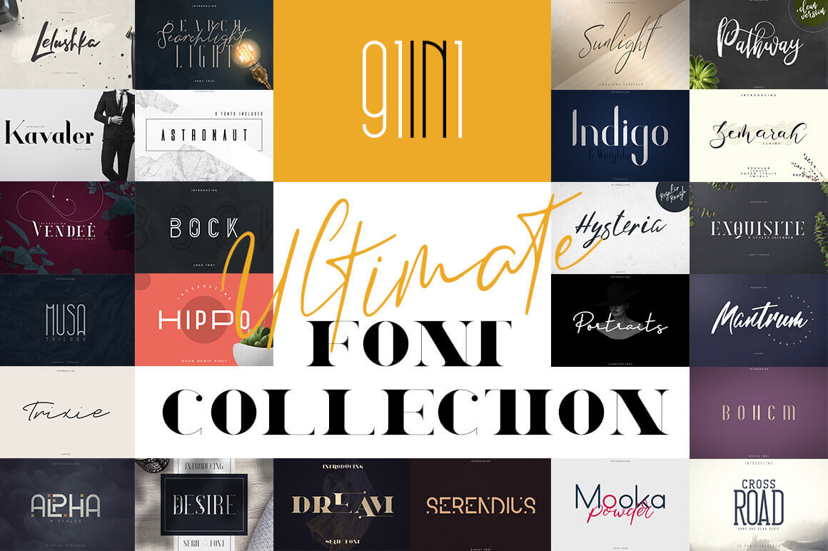 The Ultimate Font Collection: 91 Different Typefaces – only $9!