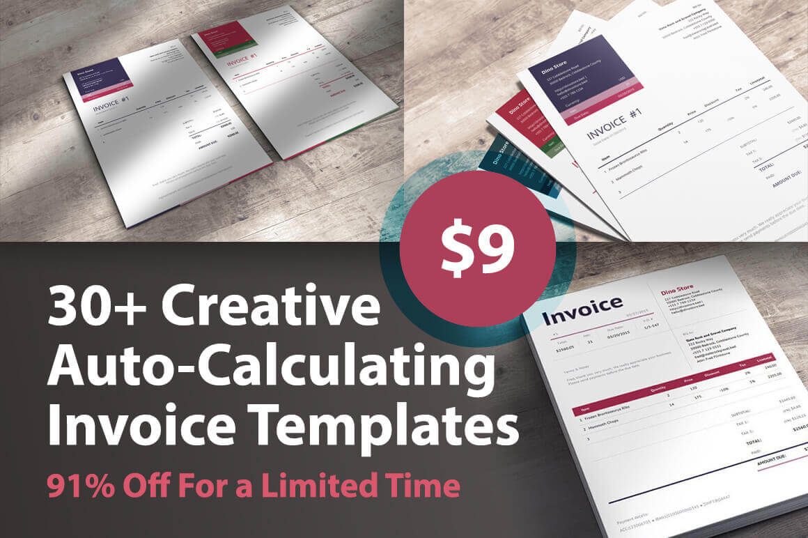 30+ Creative Auto-Calculating Invoice Templates – only $9!