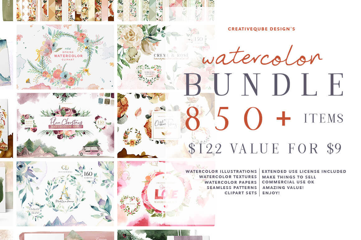 850+ Professional Watercolor Graphics – only $9!