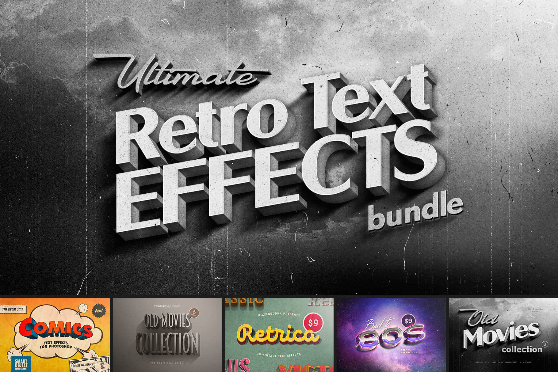 The Ultimate Retro Text Effects Bundle: Old Movie Titles, Vintage Comics & The '80s – only $9!