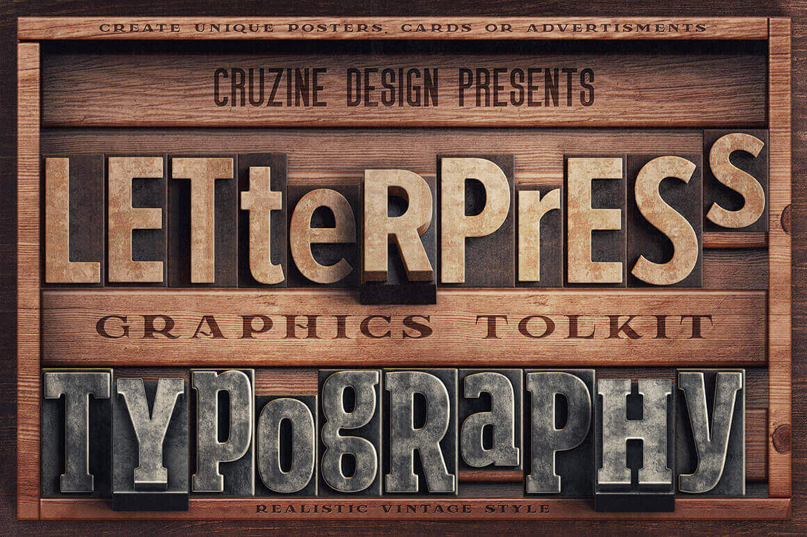 Vintage Letterpress Graphics Toolkit – only $12!