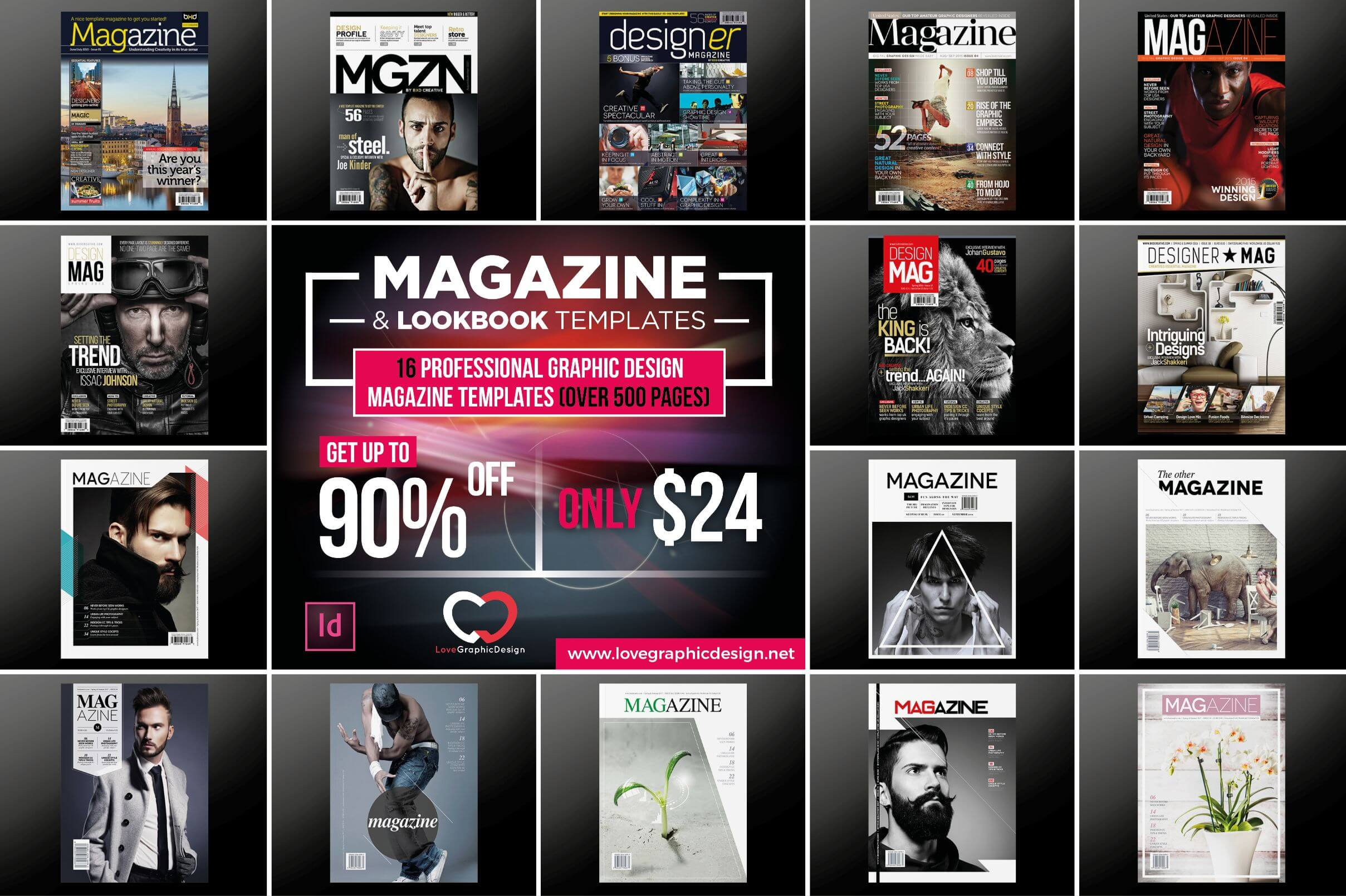 16 Professional Graphic Design Magazine Templates (over 500 pages) – only $24