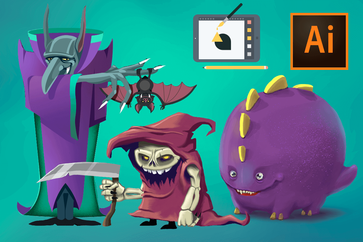 Drawing Monsters with Adobe Illustrator CC – only $14!