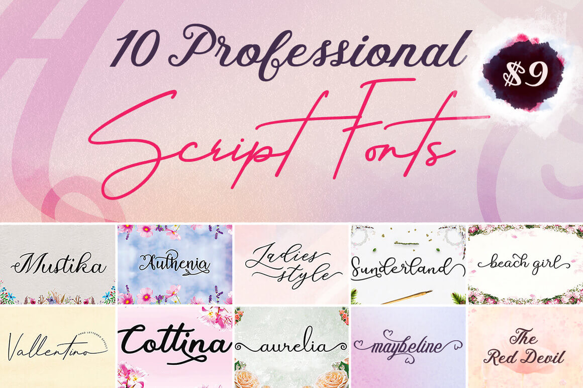 10 Professional Script Fonts – only $9!