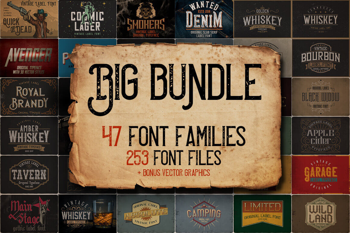 250+ Vintage Fonts & 100+ Vector Graphics – only $9!