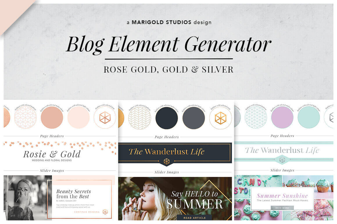 Blog Element Generator in Gold, Rose Gold, and Silver – only $9!