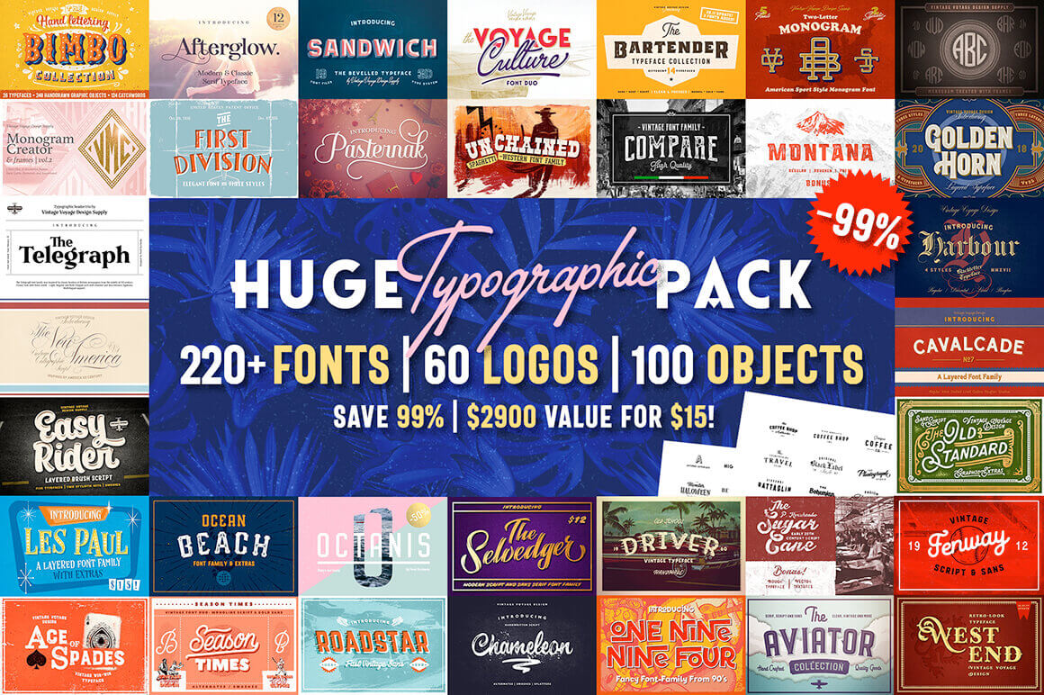 220+ Fonts, 100 Vector Objects & More – only $15!